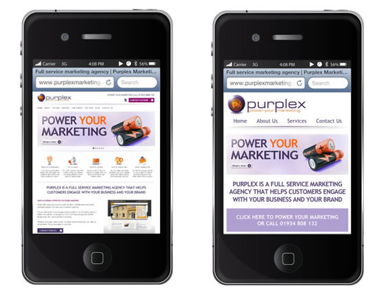One non mobile optimised and mobile optimised website