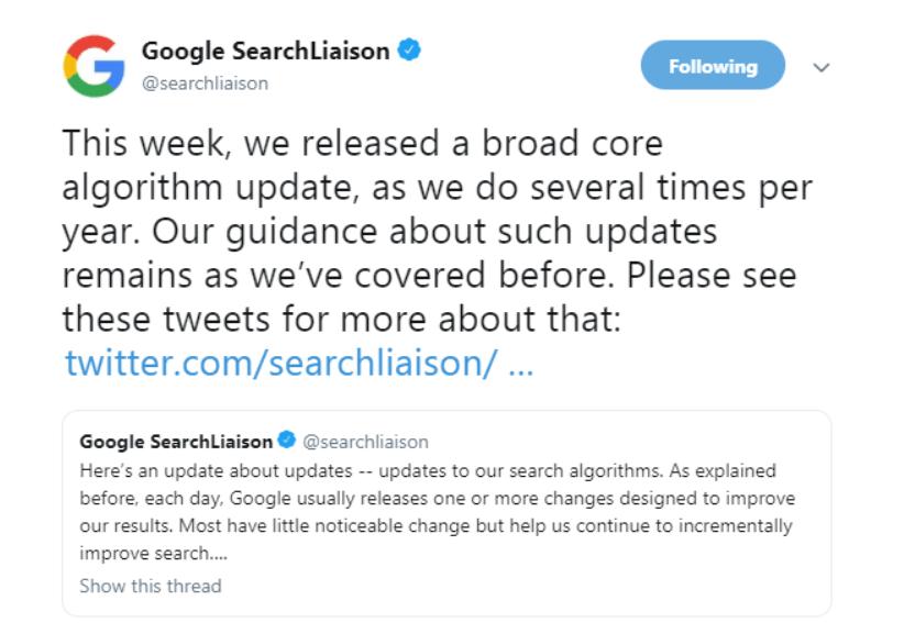 a tweet from google
