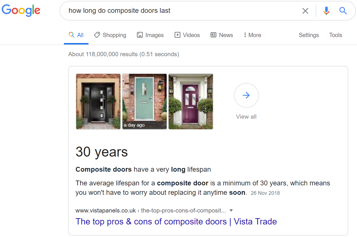 Featured snippet example for Vista Panels