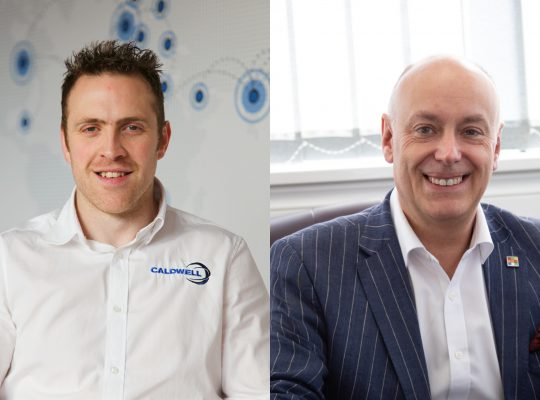 Tim Ferkin, Caldwell's Market Development Director (left) and Andrew Scott, Purplex's MD (right)
